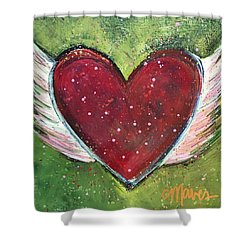 Shower Curtain featuring the painting Winged Heart Number 1 by Laurie Maves ART