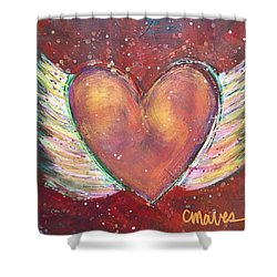 Shower Curtain featuring the painting Winged Heart Number 2 by Laurie Maves ART