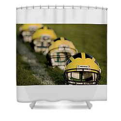 Winged Helmets On Yard Line Shower Curtain