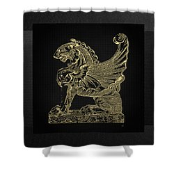 Shower Curtain featuring the digital art Winged Lion Chimera From Casa San Isidora, Santiago, Chile, In Gold On Black by Serge Averbukh