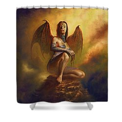 Winged Vamp Shower Curtain