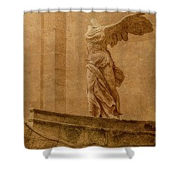 Paris, France - Louvre - Winged Victory Shower Curtain