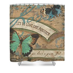 Wings Of Love Shower Curtain by Debbie DeWitt