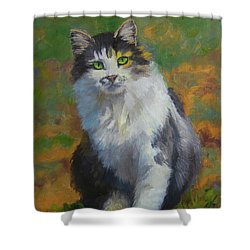 Winston Cat Portrait Shower Curtain by Alice Leggett