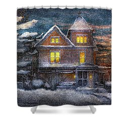 Winter - Clinton Nj - A Victorian Christmas  Shower Curtain by Mike Savad