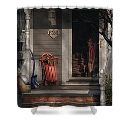 Winter - Rosebud And Shovel Shower Curtain by Mike Savad