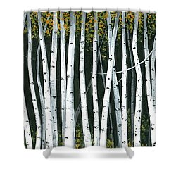 Shower Curtain featuring the painting Winter Aspen 3 by Michael Swanson