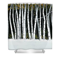 Shower Curtain featuring the painting Winter Aspens II by Michael Swanson