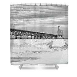 Shower Curtain featuring the photograph Winter At Mackinac Bridge by John McGraw