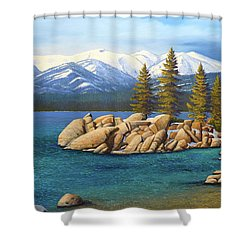 Winter At Sand Harbor Lake Tahoe Shower Curtain