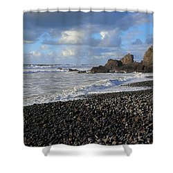 Winter At Sandymouth Shower Curtain by Richard Brookes