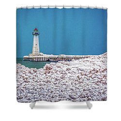 Winter At Sodus Point  Shower Curtain