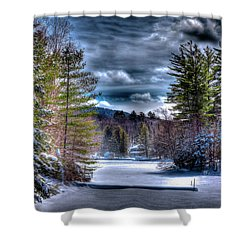 Shower Curtain featuring the photograph Winter At The Boathouse by David Patterson