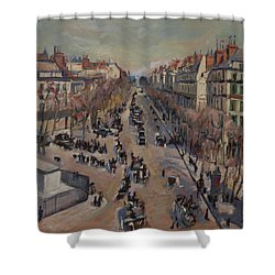 Winter At The Boulevard De La Madeleine, Paris Shower Curtain