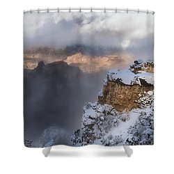Shower Curtain featuring the photograph Winter At The Grand  Canyon by Sandra Bronstein