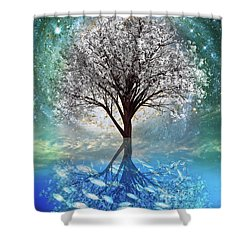 Shower Curtain featuring the digital art Winter At The Reef by Debra and Dave Vanderlaan