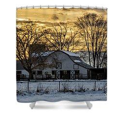 Winter Barn At Sunset - Provo - Utah Shower Curtain by Gary Whitton