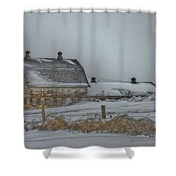 Winter Barn Shower Curtain by Edward Peterson