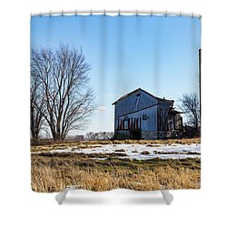 Shower Curtain featuring the photograph Winter Barn by Kathleen Scanlan