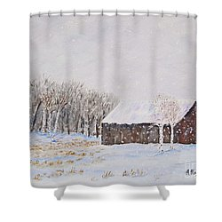 Winter Barn Shower Curtain by Stanton Allaben