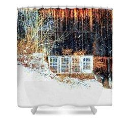 Winter Barn Window Views Shower Curtain