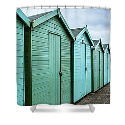 Winter Beach Huts IIi Shower Curtain