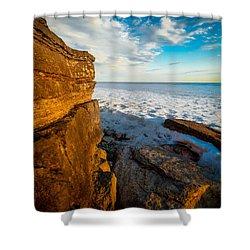 Winter Beach Sunset Shower Curtain