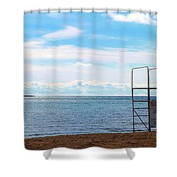 Shower Curtain featuring the photograph Winter Beach by Valentino Visentini
