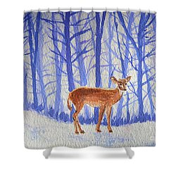 Shower Curtain featuring the painting Winter Begins by Li Newton