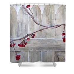 Winter Berries Watercolor Shower Curtain