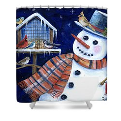 Winter Birds Delight Shower Curtain