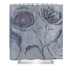 Shower Curtain featuring the painting Winter Blooms by Robin Maria Pedrero