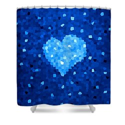 Winter Blue Crystal Heart Shower Curtain