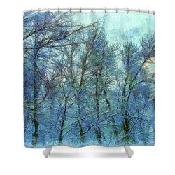 Winter Blue Forest Shower Curtain