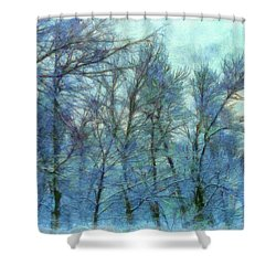 Winter Blue Forest Shower Curtain
