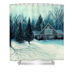 Winter Blues - Stone Chalet Cabin Shower Curtain