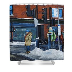 Winter Bus Stop Shower Curtain