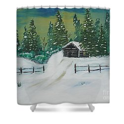 Winter Cabin Shower Curtain