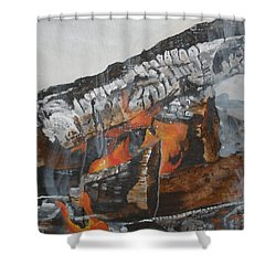 Shower Curtain featuring the painting Winter Campfire by Betty-Anne McDonald