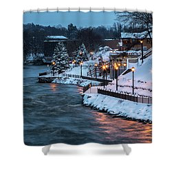 Shower Curtain featuring the photograph Winter Canal Walk by Everet Regal