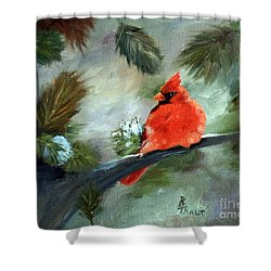 Shower Curtain featuring the painting Winter Cardinal by Brenda Thour