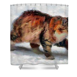Winter Cat Shower Curtain