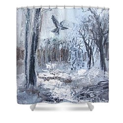 Shower Curtain featuring the painting Winter Caws by Robin Maria Pedrero