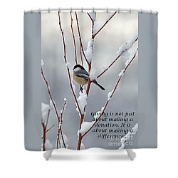 Shower Curtain featuring the photograph Winter Chickadee Giving by Diane E Berry