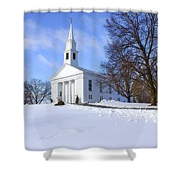 Winter Church Shower Curtain by Evelina Kremsdorf
