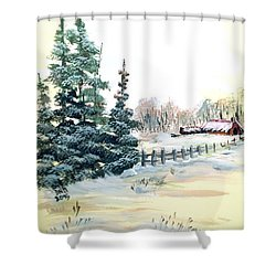 Winter Comes At The Farm  Shower Curtain