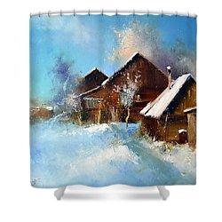 Winter Cortyard Shower Curtain