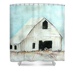 Winter Country Barn Shower Curtain