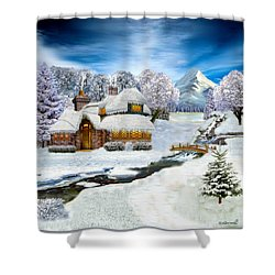 Winter Country Cottage Shower Curtain