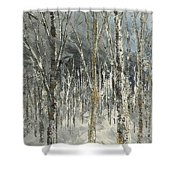 Shower Curtain featuring the painting Winter Country by Tatiana Iliina